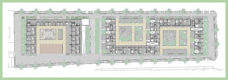 Planta tipo de viviendas y residencia de estudiantes.